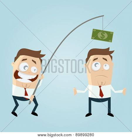 funny businessman with money on fishing rod
