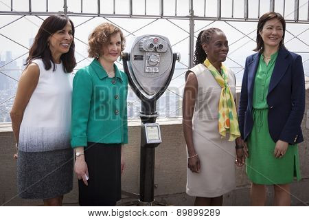 NEW YORK - MAY 5, 2015: Jill Scalamandre of Coty Skincare, Mary Giliberti of NAMI, NY First Lady Chirlane McCray, and Barbara Ricci of NAMI on the observatory deck of the Empire State Building.