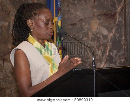 NEW YORK - MAY 5, 2015: New York First Lady Chirlane McCray speaks at the ceremony to light the Empire State Building green to raise awareness for mental health needs and services in NYC.