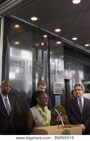 NEW YORK - MAY 5 2015: First Lady Chirlane McCray announces a $78 million budget proposed by her husband Mayor Bill de Blasio for mental health services at a press conference at the Empire State Bldg.