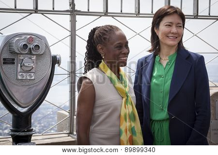 NEW YORK - MAY 5, 2015: NY First Lady Chirlane McCray and Barbara Ricci of NAMI pose on the observatory deck of the Empire State Building after a ceremony in honor of National Mental Health Month.
