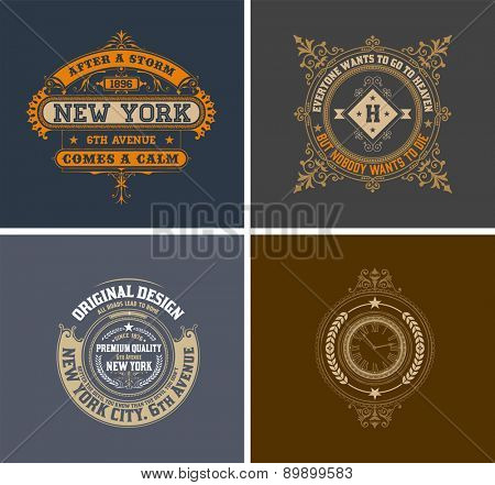 Retro cards. Business sign, identity for Restaurant, Royalty, Boutique, Cafe, Hotel, Heraldic, Fashion and other vector illustration