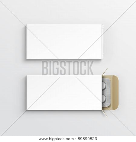 Vector Blank Package Box for Blister of Pills