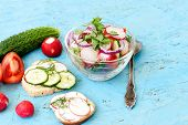 image of chinese parsley  - Spring salad with radishes cucumber Chinese cabbage and red onion closeup vsteklyannoy bowl on a blue wooden background - JPG