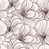 pic of geranium  - Beige and brown geranium flowers line drawing seamless pattern - JPG