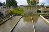 stock photo of wastewater  - Aerated activated sludge tank at a wastewater treatment plant - JPG
