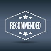 stock photo of recommendation  - recommended hexagonal white vintage retro style label - JPG