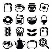 foto of continental food  - Vector icons set of different breakfast food isolated on white - JPG