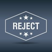 foto of reject  - reject hexagonal white vintage retro style label - JPG