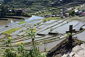 stock photo of ifugao  - Cross water and rice terrases in Batad near Banaue - JPG
