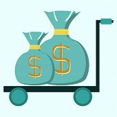 picture of trolley  - trolley with two bags of money - JPG