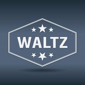 picture of waltzing  - waltz hexagonal white vintage retro style label - JPG