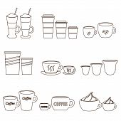 image of frappe  - coffee cups and mugs sizes variations outline icons set eps10 - JPG