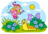 picture of caterpillar cartoon  - Flying fairy with wand and cute baby caterpillar - JPG