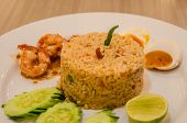 picture of shrimp  - Fried rice with shrimp pasteRice Mixed with Shrimp paste detail Thai food - JPG