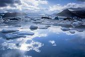 picture of iceberg  - Iceberg in Jokulsarlon glacier lake in Iceland - JPG