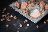 picture of truffle  - Chocolate truffles in an unusual shape with metal cutlery - JPG