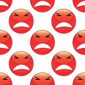 picture of emoticons  - Vector angry emoticon repeated on white background - JPG