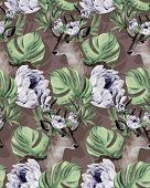 pic of deer horn  - seamless hipster pattern with deer portrait in flowers with wreath in his horns - JPG