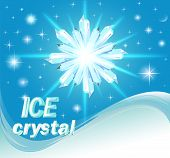stock photo of ice crystal  - illustration background with shiny crystals of ice and wave - JPG