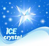 pic of ice crystal  - illustration background with shiny crystals of ice and wave - JPG