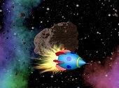 picture of plasmatic  - Rocket in outerspace with asteroid and stars - JPG