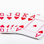 picture of flush  - royal flush playing cards isolated on white background - JPG