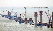 picture of hong kong bridge  - construction site of Hong Kong Zhuhai Macau Macao Bridge at day - JPG