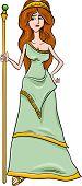 picture of scepter  - Cartoon Illustration of Mythological Greek Goddess Hera - JPG