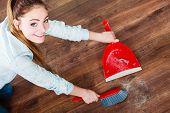 foto of broom  - Cleanup housework concept - JPG