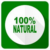 stock photo of 100 percent  - natural flat icon 100 percent natural sign  - JPG