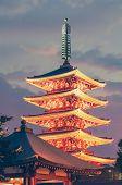 image of shogun  - Japanese red pagoda in Asakusa temple at twilight - JPG