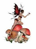 image of fairy-mushroom  - red fairy in on big mushroom and grass - JPG