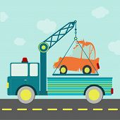 stock photo of tow-truck  - Tow truck carrying a crashed car on the road - JPG