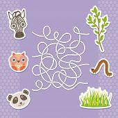 stock photo of preschool  - zebra panda owl labyrinth game for Preschool Children - JPG