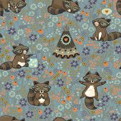 picture of wigwams  - Family of wild raccoons resting on the meadow - JPG