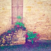 pic of french culture  - Porch Decorated with Flowers in the French City Vintage Style Toned Picture - JPG
