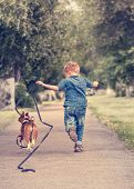 picture of puppy beagle  - Little boy running with his beagle puppy - JPG
