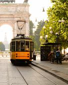 picture of tram  - old tram in milan downtown - JPG