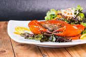 stock photo of exoskeleton  - Fried crab and sald vegetable in restaurant - JPG