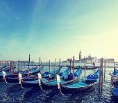 foto of gondola  - Gondolas on Grand Canal and San Giorgio Maggiore church in Venice - JPG