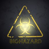 image of biohazard symbol  - wall with a picture of the biohazard symbol - JPG