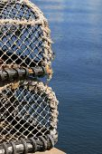 stock photo of lobster trap  - A pair of traps used to catch lobsters and crayfish - JPG