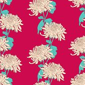 picture of chrysanthemum  - Floral seamless pattern with chrysanthemum on crimson background - JPG