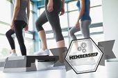 pic of step aerobics  - The word membership and three women in aerobics class against hexagon - JPG