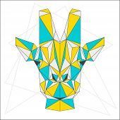 picture of low-necked  - Abstract blue yellow and grey blended colored polygonal triangle geometric giraffe isolated on white background for use in design for card invitation poster banner placard or billboard cover - JPG