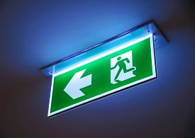 pic of emergency light  - Fire exit green emergency exit sign on ceiling - JPG