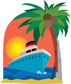 picture of cruise ship  - cruise ship with palm tree against a sunset - JPG