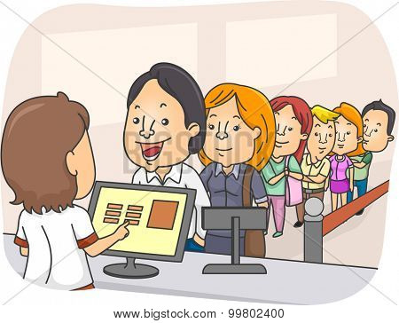 Illustration of a Long Line of People Waiting in Front of a Counter