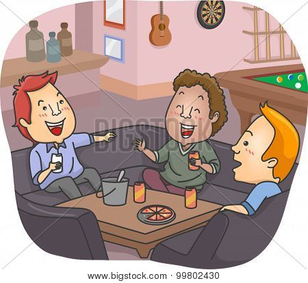 Illustration of a Group of Men Having a Drink at Their Man Cave